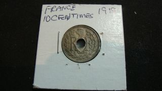 1919 France 10 Centimes Coin Liberte Egalite Fraternite photo