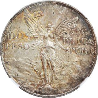 Mexico 2 Pesos Mo 1921 Independence Centennial,  Ngc Ms62.  Attractive Patina. photo