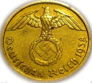 ♡ Germany - German 3rd Reich 1938a Gold Colored 10 Reichspfennig Real Ww 2 Coin photo