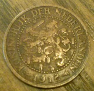 1918 Netherlands Wwi Era 2 1/2 Cents - Decent Circ Detail - Look photo