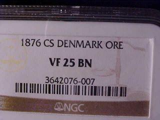 Denmark One Øre 1876 Ngc Vf 25 Bn Rare Date photo