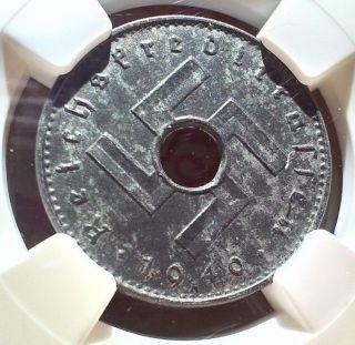 - Ngc Ms - 61 Third Reich 10 Reichspfennig,  1940 Military Occupation Token - photo