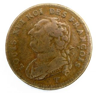 1793 T France 12 Deniers Louis Xvi Km 600 Bronze Coin (post Colonial) 358 photo