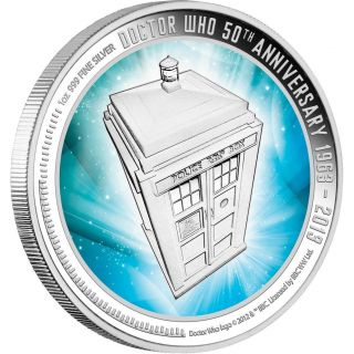 Dr.  Who 50th Anniversary Silver Coin 2013 1oz Silver Coin W/tardis Display Case photo