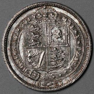 1887 Unc Silver 6 Pence Victoria (jubilee Head/shield Reverse) 1 Yr Type Coin La photo