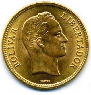 Venezuela 10 Bolivares Y 31 Unc Gold Coin 1930 photo