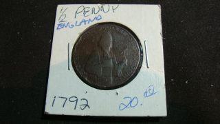 1792 1/2 Penny - England photo