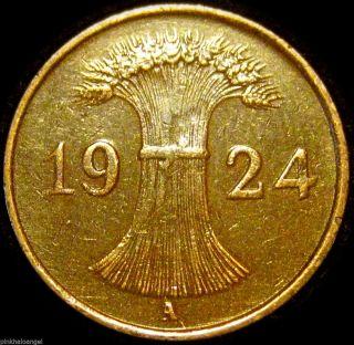 Germany - Weimar Republic - 1924a Reichspfennig Coin Great Coin photo