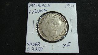 1941 Australia 1 Florin Silver Coin 0.  9250 photo