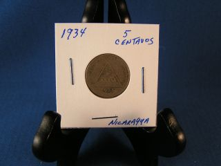 1934 - 5 Centavos Nicaragua Coin photo