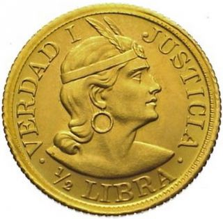 Peru 1/2 Libra Pound Km 209 Au/unc Gold Coin 1966 photo