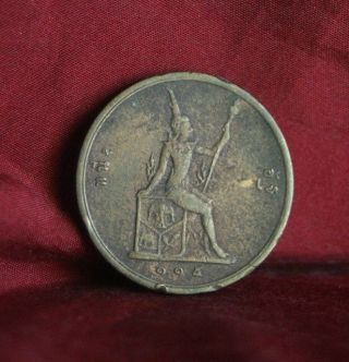 Thailand 1 Att 1896 Rs115 Bronze World Coin Y22 Seated Spear Asia Thai Rama V photo