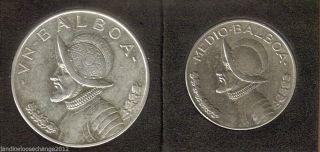 1947 Panama Silver 1 Balboa & 1930 Panama Silver 1/2 Balboa L@@k photo