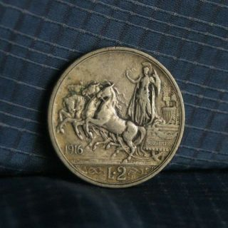 Italy 1916 2 Lire Silver World Coin Km55 Quadriga Female Standing Emanuele Lira photo