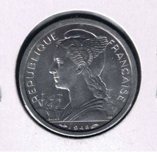 Reunion Republique Francaise 1 Franc 1948 Unc French Overseas Dept. photo