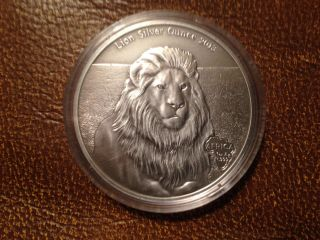 Gabun / Gabon 1000 Francs 2013 Silver 1 Oz Lion Antique Finish photo