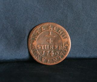 1740 Cologne German States 1/4 Stuber Copper World Coin Germany Crowned Cac photo