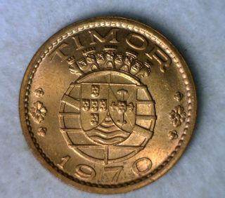 Timor 1 Escudo 1970 Red Bu Portugal Coin photo