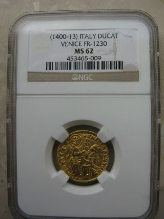 (1400 - 13) Italy Venice Michele Steno Gold Ducat Fr - 1230 Ngc Ms63 photo