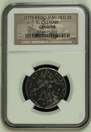 1777 - 1783 Mo Ff El Cazador 2 Reales Shipwreck Coin Ngc photo