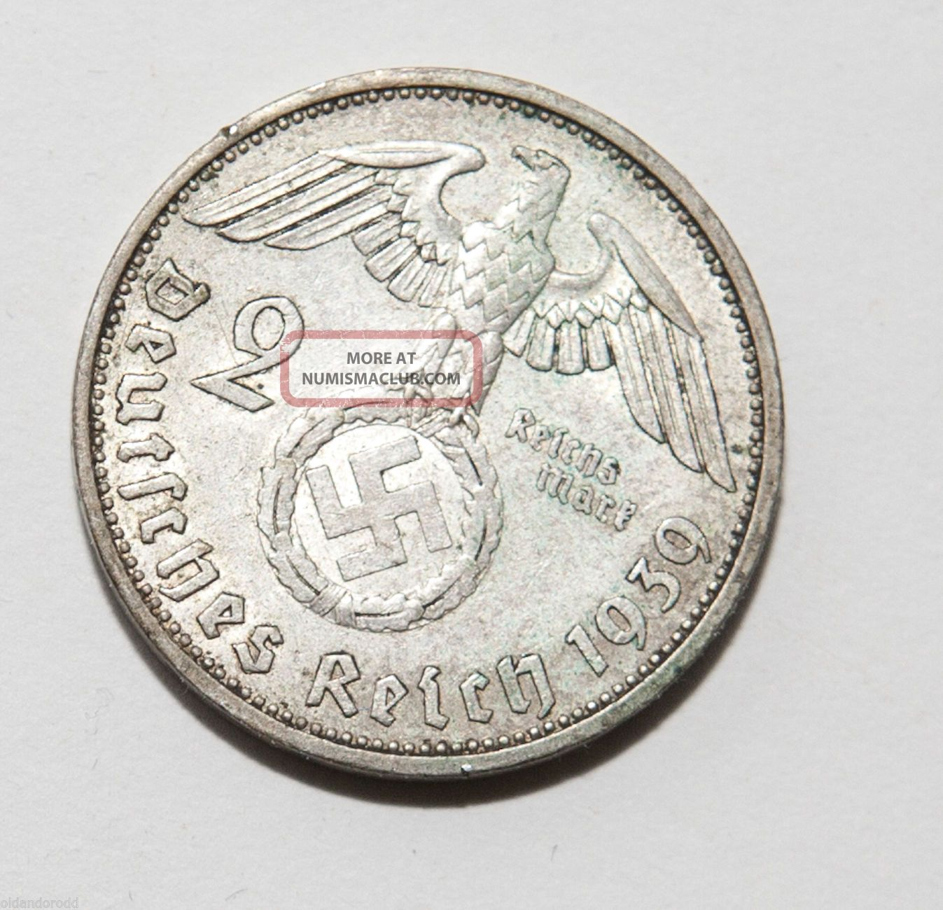 Rare 1939 A Hindenburg Swastika 2 Mark Silver Coin Germany photo