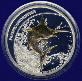 Fiji 2011 $2 Pacific Swordfish Fine Silver Gold Gilding Proof - Like Boxed photo
