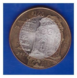 Mexico Bimetallic Silver Coin 100 Pesos 2006 Reloj Monumental De Pachuca L83 photo