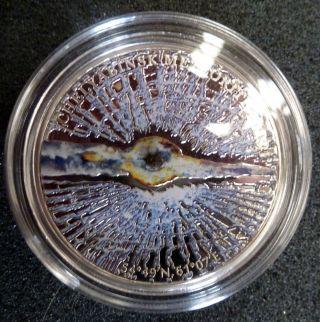 Cook Islands 2013 Russia Chelyabinsk Meteorite Insert Silver Proof $5 Coin photo