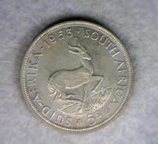 South Africa 5 Shillings 1953 Uncirculated Silver Coin photo