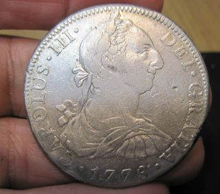 1778 F.  F (mexico) 8 Reales (silver) - - - Colonies - - - - Very Scarce - - - - - photo