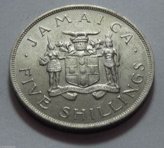 1966 Jamaica Copper Nickel 5 Shillings Coin - Commonwealth Games photo