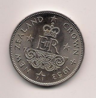 Zealand Crown,  1953,  Queen Elizabeth Ii Coronation,  With Lustre,  Nicer Coin photo