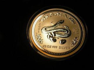 2001 Snake Silver 1/2 Half Ounce Australia Lunar Series One photo
