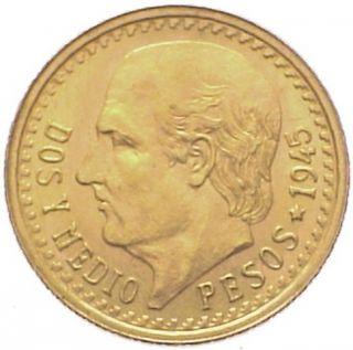 Mexico 2 1/2 Pesos Km 463 Unc Gold Coin 1945 photo