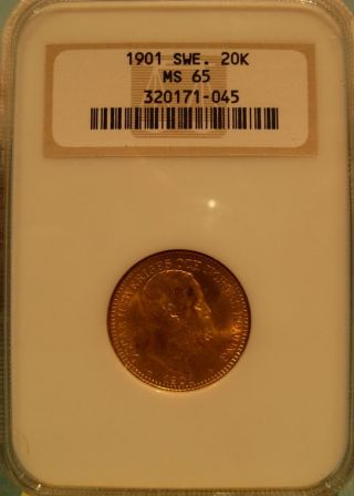 Sweden 1901 Gold 20 Kronor Ngc Ms - 65 photo