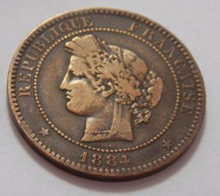 1884a France Bronze 10 Centimes Coin photo