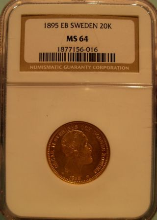 Sweden 1895 Gold 20 Kronor Ngc Ms - 64 photo