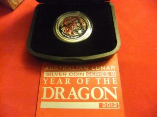 Half Oz.  999 Silver 2012 Year Of Dragon Proof Colored Coin Aust Lunar Series 2 photo