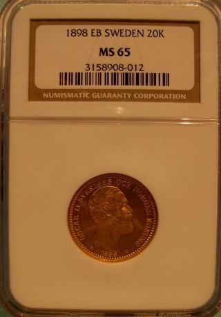 Sweden 1898 Eb Gold 20 Kronor Ngc Ms - 65 photo