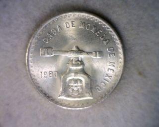 Mexico Onza 1980 Silver Bu 1 Oz Pure Silver photo