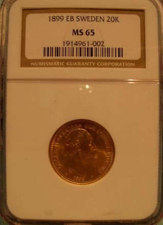 Sweden 1899 Eb Gold 20 Kronor Ngc Ms - 65 photo