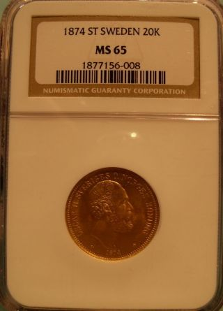 Sweden 1874 St Gold 20 Kronor Ngc Ms - 65 photo
