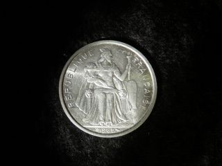 Foreign French Polynesia 1965 5 Francs Polnesian 5 Dollars Coin - Flip photo