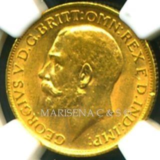 1913 Gr.  Britain Geo V Gold Coin Sovereign Ngc Cert Grade Au 58 photo