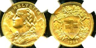 1914 B Switzerland Gold Coin 20 Francs Ngc Cert Ms 64 Pristine Luster photo
