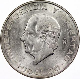 1956 Mexico 10 Pesos Silver Coin State Bu Unc photo