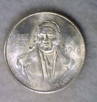 Mexico 100 Pesos 1978 Bu Silver photo