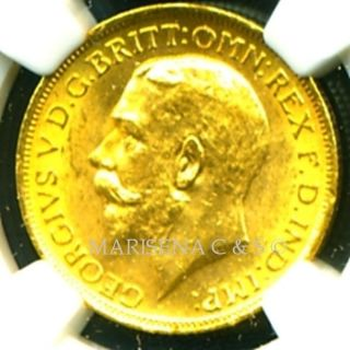 1915 S Australia G V Gold Coin Sovereign Ngc Cert Ms 62 Mesmerizing photo