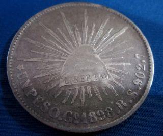 Un Peso Fuerte Guanajuato R.  S.  1898 Mexico Ley.  902,  7 photo