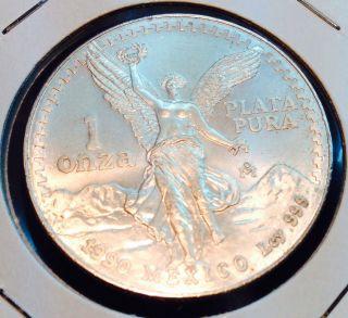 Mexico / 1990 Onza 1oz 999 Silver - B.  Unc photo